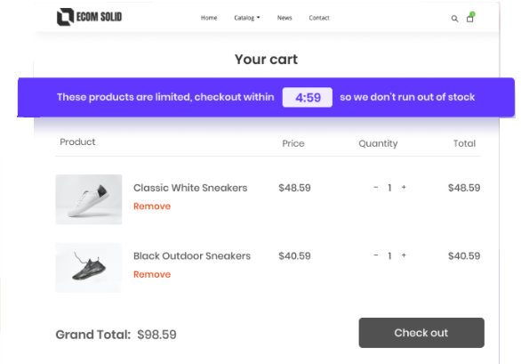 cart countdown timer add-on EcomSolid