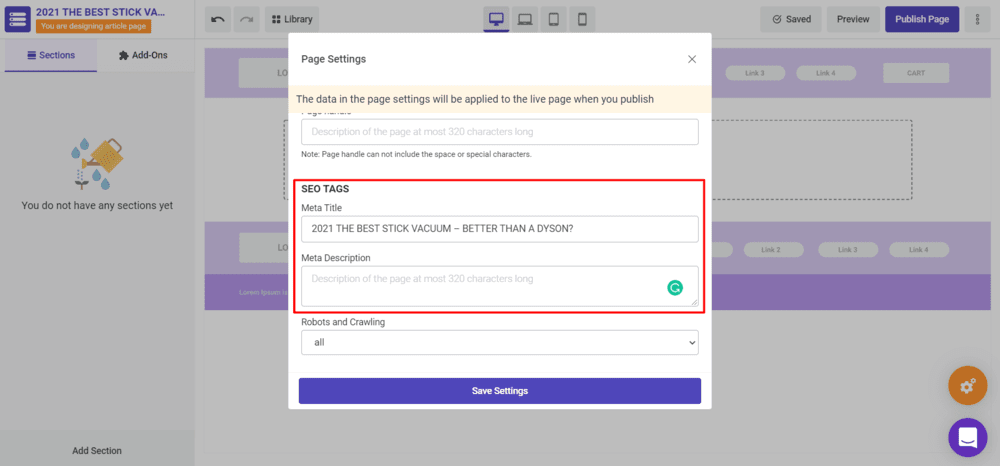 Edit SEO Tags that include Meta Title and Meta Description in Page Settings