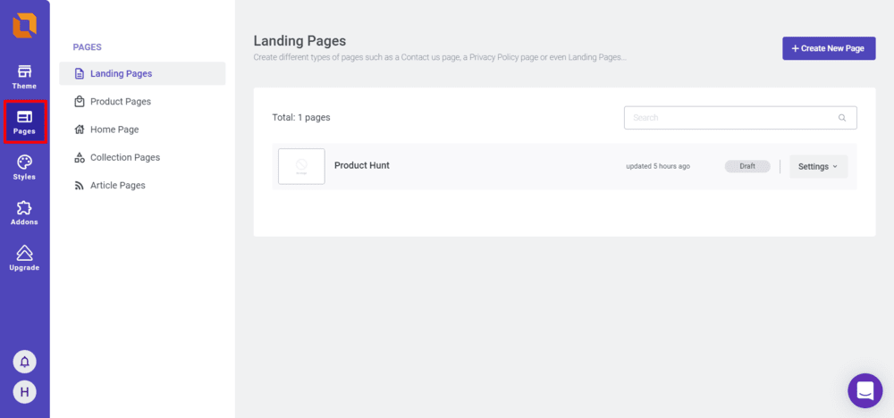 The Pages section in the EcomSolid Dashboard sidebar menu
