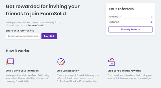 get rewarded for inviting your friend to join EcomSolid